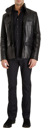 John Varvatos Leather Officer's Jacket