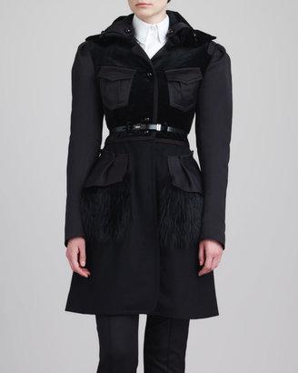 Jason Wu Fox Fur-Peplum Coat, Black