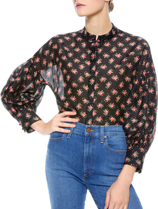 Alice + Olivia Paulita Mandarin-Collar Button-Down Blouse