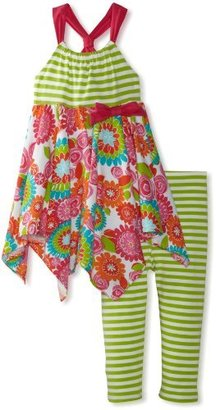 Bonnie Jean Girls 2-6X Stripe and Colored Tiered Legging Set