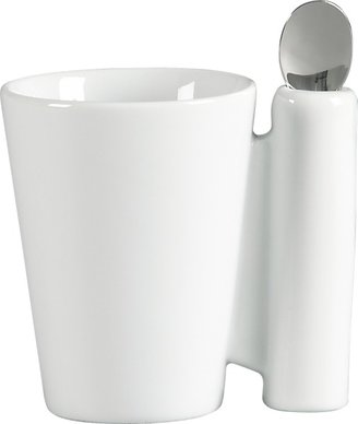 CB2 Spoon Coffee Mug White With Stainless Steel Spoon