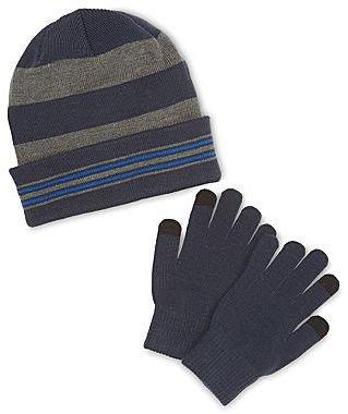 JCPenney Berkshire Roll-Cuff Hat & Gloves Set - Boys