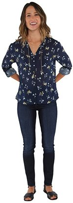Carve Designs Dylan Gauze Shirt (Navy Belle) Women's Long Sleeve Button Up