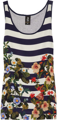 Mother of Pearl Rhondos printed silk and cotton-jersey tank