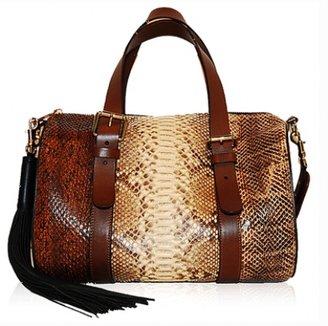 Chloé excellent (EX Brown Python Skin Tassel Shoulder Bag