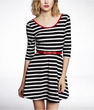 Express Striped Three Quarter Sleeve Skater Dress