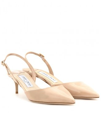 Jimmy Choo Tide patent-leather kitten-heel slingbacks