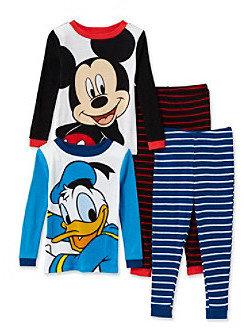 Disney Boys' 2T-4T Black/Blue 4-pc. Mickey and Donald Pajama Set