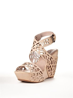 DKNY Margo Laser Cut Ankle Wrap Wedge