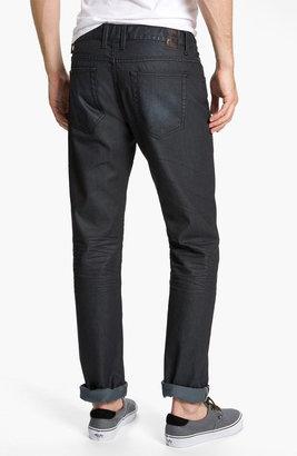 Zanerobe 'Straight Mate' Coated Slim Straight Leg Jeans (Blue Black Wax)