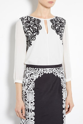 Tibi Evelyn Baroque Lace Print Silk Blouse