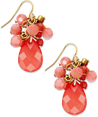 Charter Club Earrings, Gold-Tone Coral Bead Cluster Drop Earrings