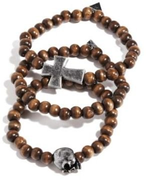 GUESS 3-Piece Wood-Bead Bracelet Set with Cross and Skull