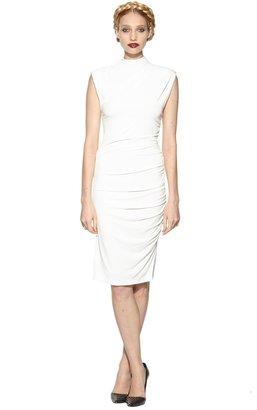 Alice + Olivia Lynley Sleeveless Turtleneck Gathered Side Dress
