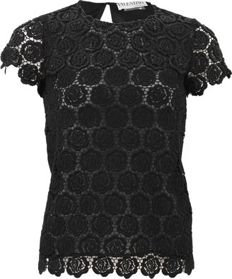 Valentino Short Sleeve Beaded Embroidered T-Shirt