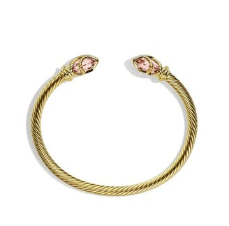 David Yurman Cable Wrap Bracelet with Morganite and Diamonds in Gold