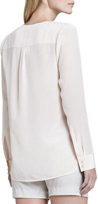 Vince Silk Long-Sleeve Blouse, Blossom