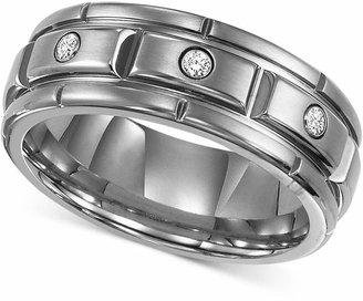 Triton Men Titanium Ring, Three Diamond Wedding Band (1/10 ct. t.w.)