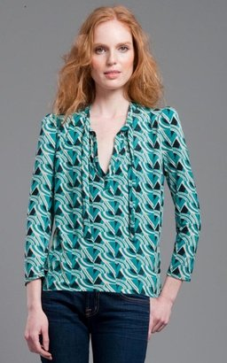 Tracy Reese Plenty Lagoon/Khaki Tie Neck Blouse