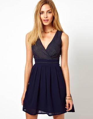 Wal G Wrap Detail Dress With Metallic Stripe