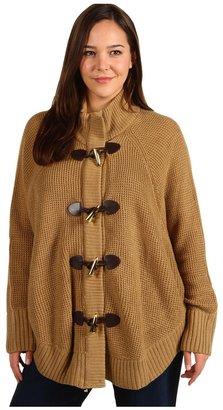 MICHAEL Michael Kors Plus Size Thermal Stitch Cape Cardigan (Dark Camel) - Apparel