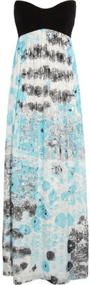 Diane von Furstenberg Asti stretch-jersey and printed silk-chiffon maxi dress