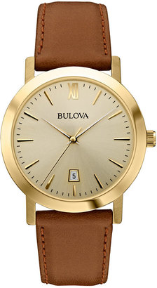 Bulova Unisex Brown Leather Strap Watch 38mm 97B135 $199 thestylecure.com