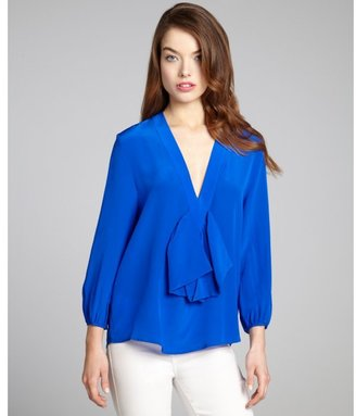 Cynthia Rowley electric blue silk three quarter sleeve bow blouse