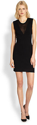 Theory Alvra Enchanted Sheer-Paneled Stretch Jersey Dress