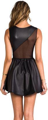 Donna Mizani Leatherette Sweetheart Flounce Dress