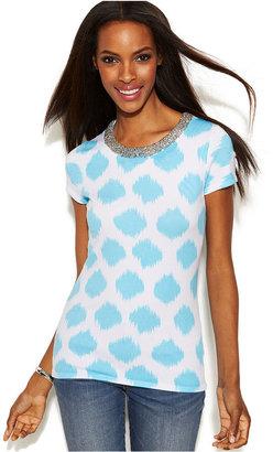 INC International Concepts Petite Beaded-Neck Printed Cap-Sleeve Sweater