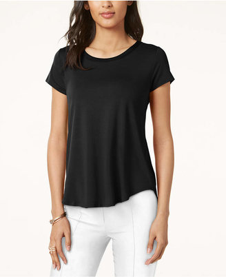 Alfani Satin-Trim High-Low T-Shirt