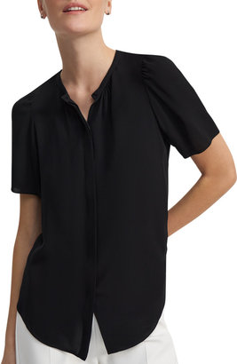 Theory Short-Sleeve Button-Front Silk Blouse