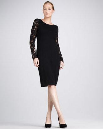 Neiman Marcus Lace-Sleeve Cashmere Dress
