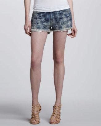 Current/Elliott Embroidered Denim Boyfriend Shorts