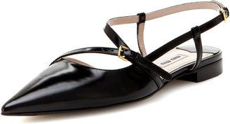 Miu Miu Pointed-Toe Leather Flat