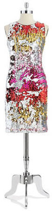 Badgley Mischka BELLE BY Sequined Shift Dress