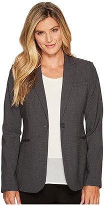 Calvin Klein 1 Button Jacket (Charcoal Melange) Women's Jacket