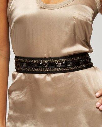 Bebe Jeweled Sequin Stretch Belt