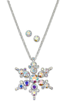 Charter Club Silver-Tone Snowflake Pendant Necklace and Crystal Stud Jewelry Set