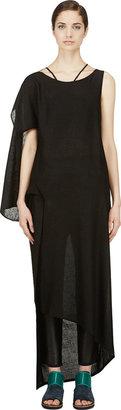 Yohji Yamamoto Black Asymmetric Drape Dress $3,525 thestylecure.com