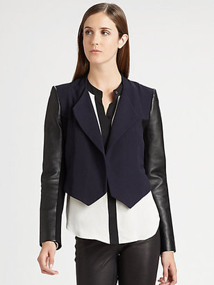 Theory Cohen Leather-Sleeve Blazer