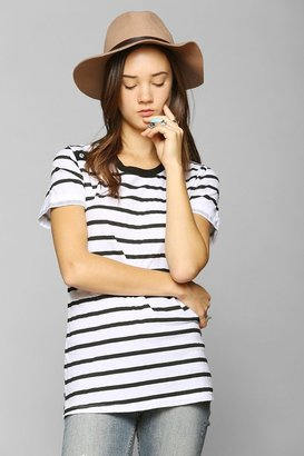 Truly Madly Deeply Button Stripe Crew-Neck Tee