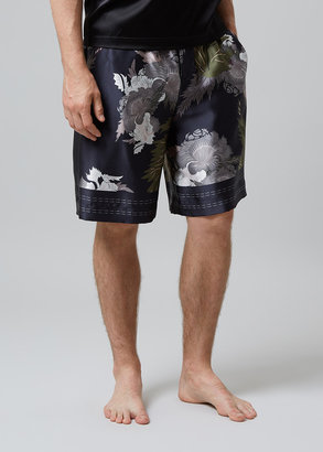 MENG Men S Black & Khaki Printed Long Silk Satin Shorts