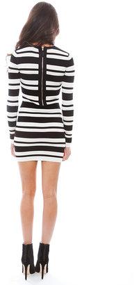 Torn By Ronny Kobo Melena Ottoman Dress in Black/White