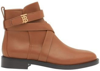 Burberry Monogram Motif Leather Ankle Boots