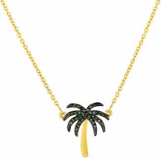 FINE JEWELRY 1/10 CT. T.W. Color-Enhanced Green Diamond Palm Tree Necklace