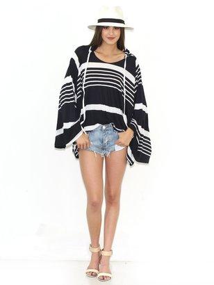 Michael Lauren Etzel Oversized Pullover in Navy/White