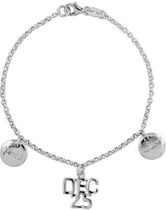"Sterling 7-3/4"" Holiday Chain Link Dangle Bracelet"