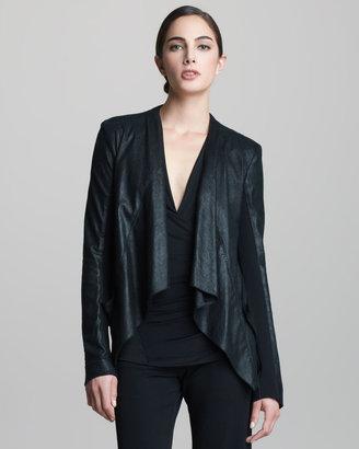 Donna Karan Lambskin Leather Drape Jacket